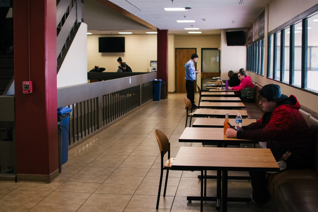 Students study, eat lunch, and pass time at PPCC's Centennial campus.