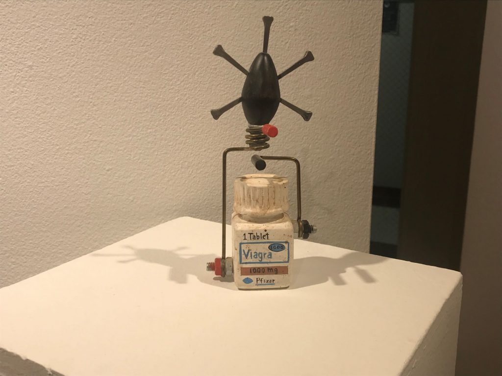Viagra bottle, sculpture with many points
