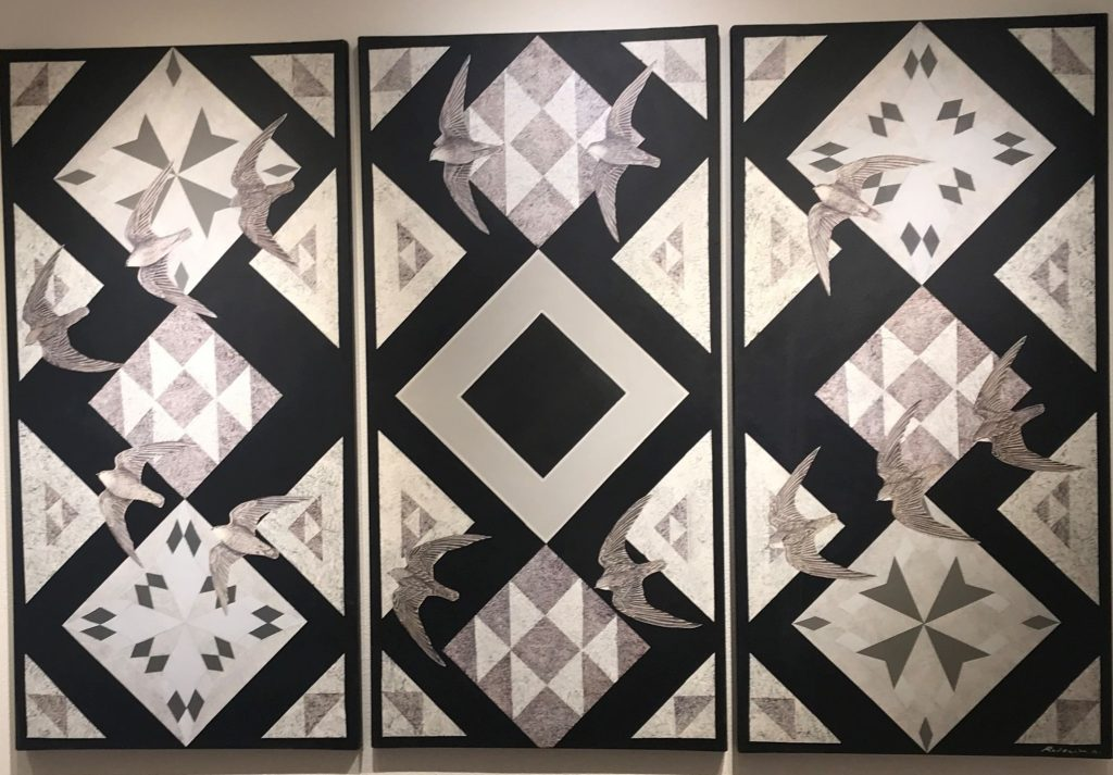 Quilt pattern, three pieces, black and white with several birds on patterned backgrounds, acrylic on canvas