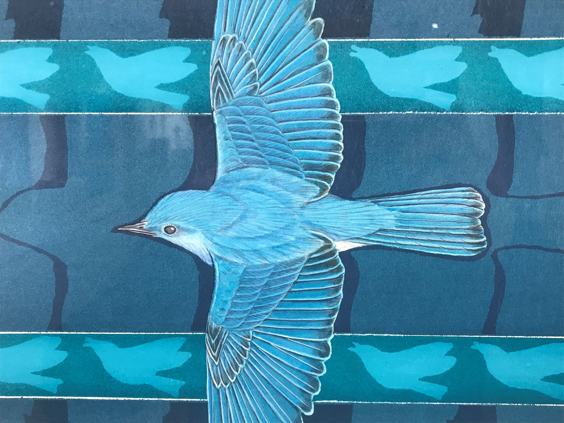 An up close look at a blue bird with four bird shapes in the background