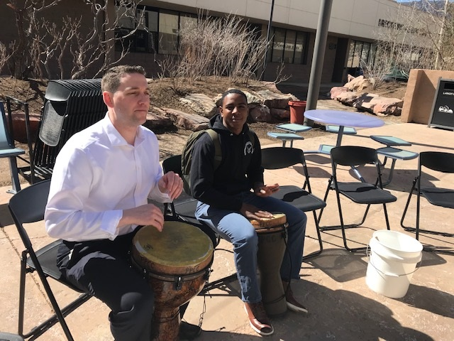 Dr. Baker, VPIS playing the drums